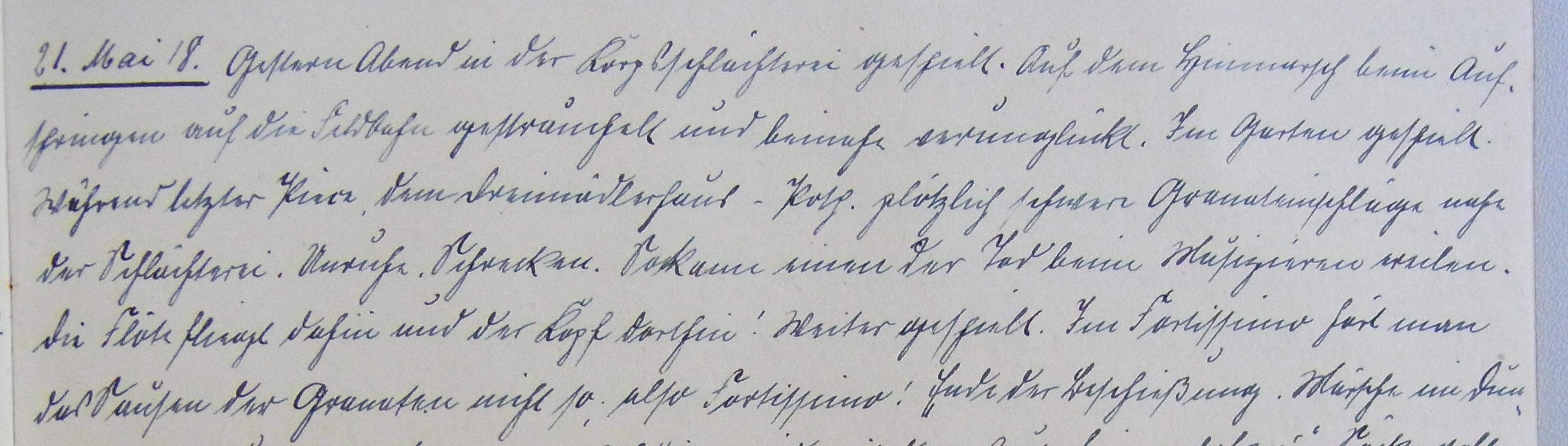 Das Zitat vom 21. Mai 1918 im Tagebuch des Pankraz G.